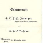 Na de verloving en de bevordering kan er getrouwd worden. Familie en vrienden krijgen een ondertrouwkaart met de datum 24 december 1898. Het huwelijk is gesloten op 18 januari 1899.