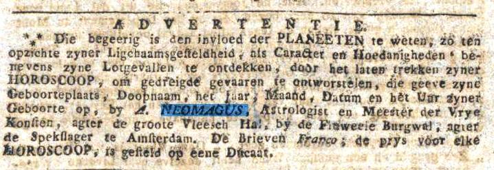 Een van de advertenties van A. Neomagus, astrologist.