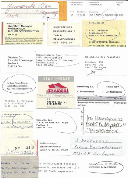 Een collage met voorbeelden van de onjuiste schrijfwijze van de naam Neomagus.