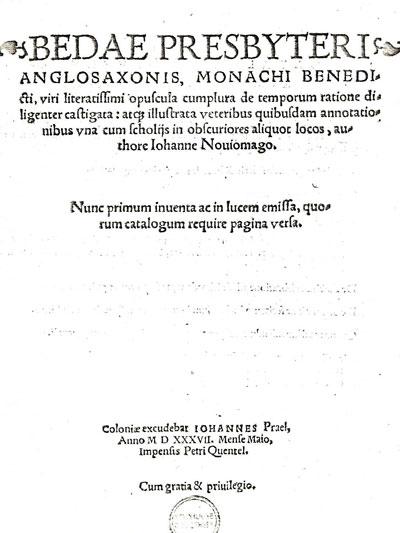 Eerste pagina van een werk van Iohanne Nouiomago, ofwel Johannes Neomagus Bronckhorst, uit 1537. Hij is dan leraar in Keulen.