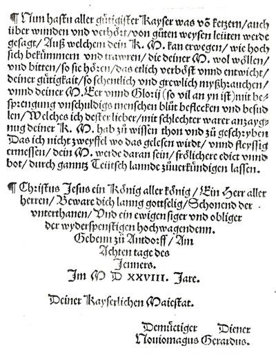 Dit is de laatste pagina van een brief van Gerardus Geldenhauer Neomagus aan keizer Karel V in 1528, ondertekend met Noviomagus Gerardus.