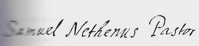 Handtekening van Samuel Nethenus