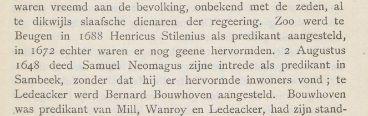 Bericht over de intrede van Samuel in Sambeek, waar hij geen hervormde inwoners aantreft.