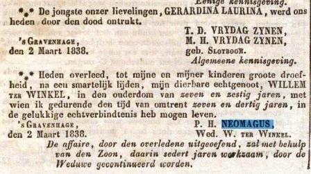 Overlijdensadvertentie van Willem ter Winkel, 1838.