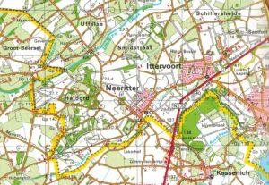 De ligging van Neeritter en Ittervoort bij de Belgische grens.
