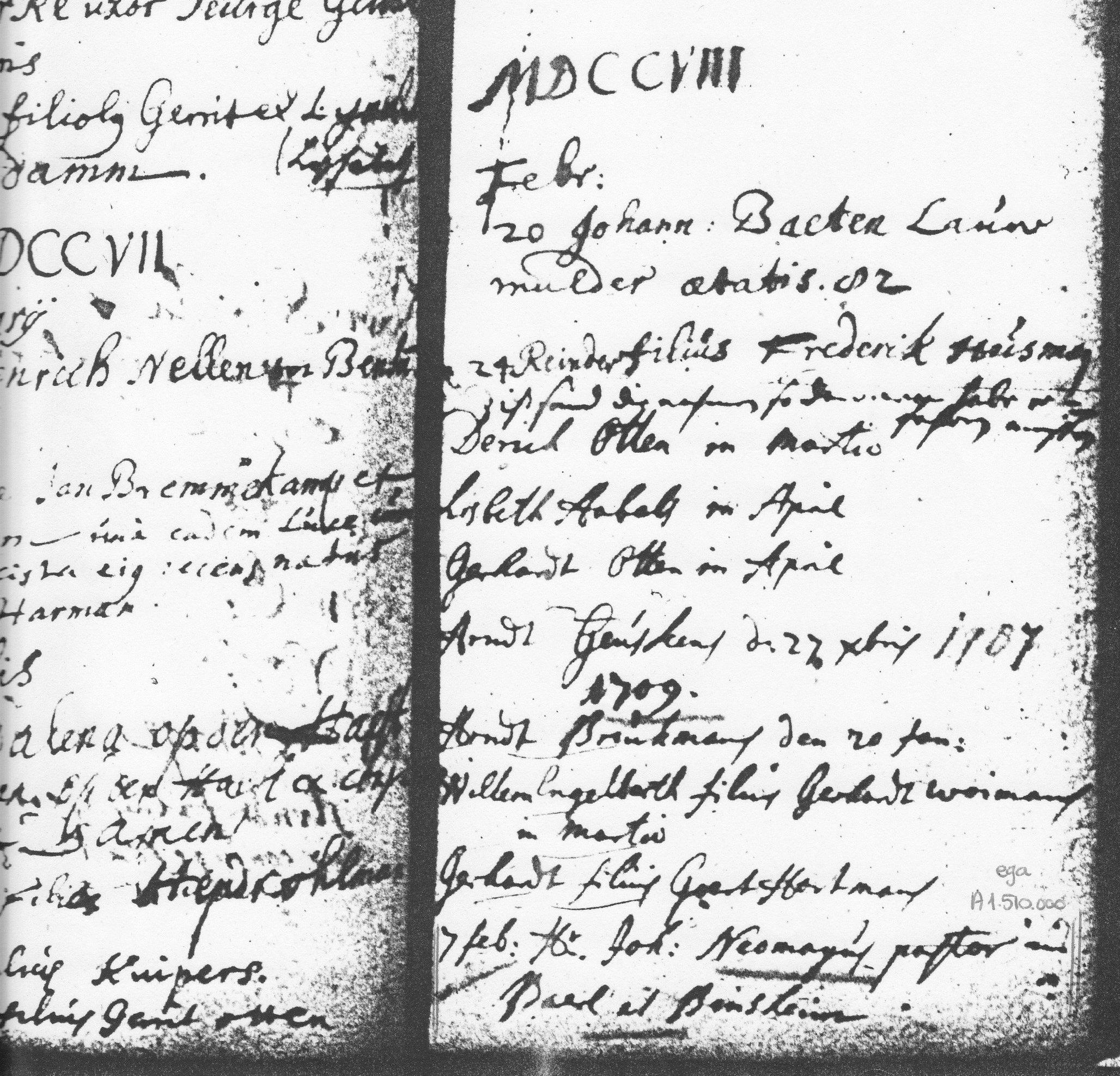Inschrijving van het begraven van Johannes, 7 februari 1709 (rechtsonder). Hij is pastor van Baerl en Binsheim.