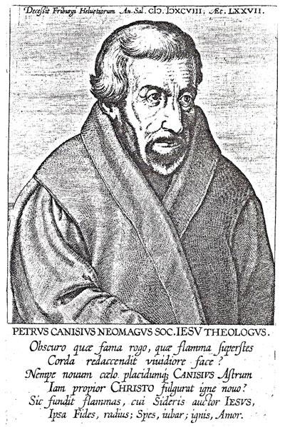 Afbeelding van Petrus Canisius Neomagus in de catalogus bij de expositie 'Ketters en Papen' in Utrecht.