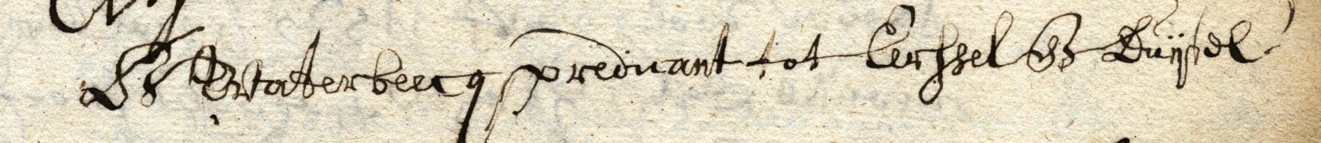 Handtekening van Bernardus Waterbeecq, met cq.