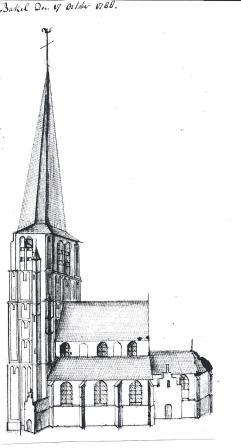 De kerk van Bakel in 1788.