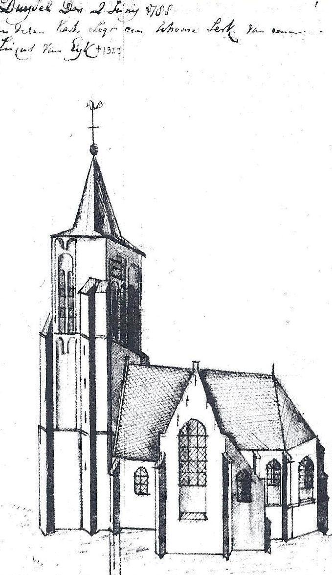 Kerk van Duizel in 1788. Nu staat alleen de toren er nog.