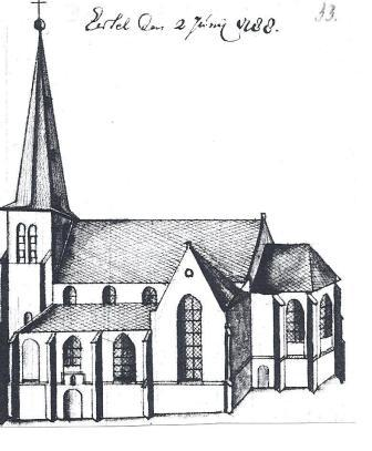 De kerk van Eersel in 1788.