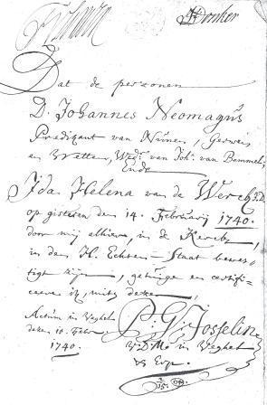 Inschrijving van het huwelijk van Johannes met Ida Helena van de Werck, 1740.