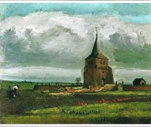 Restant van de kerk van Nuenen, in 1885 geschilderd door Vincent van Gogh.