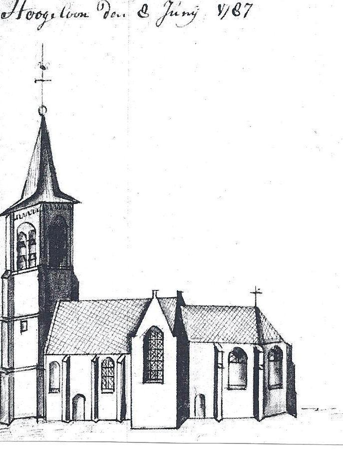 De kerk van Hoogeloon in 1787.