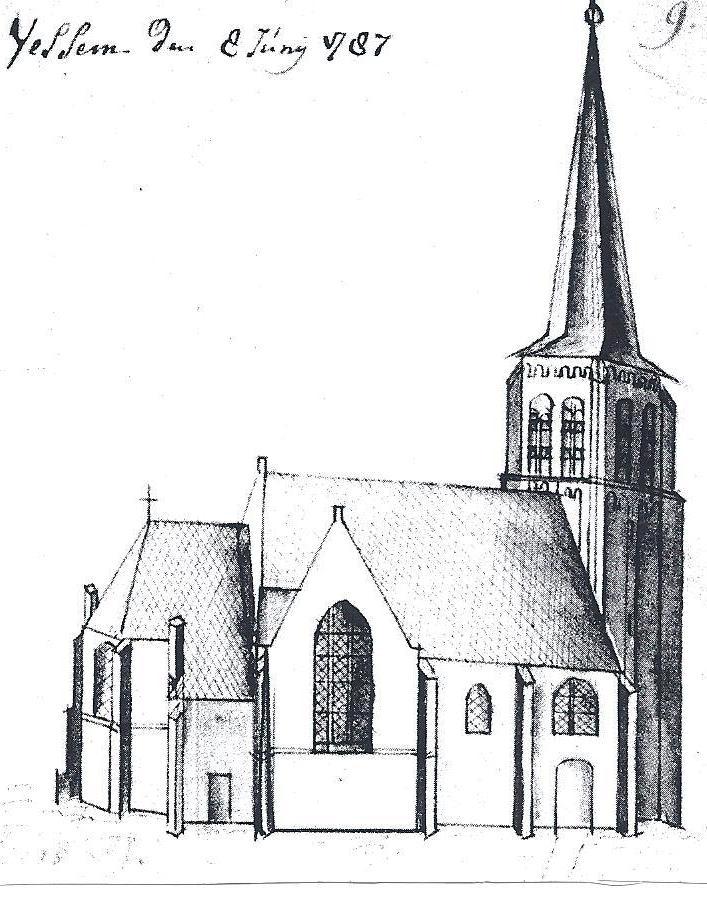 De kerk van Vessem, getekend in 1787