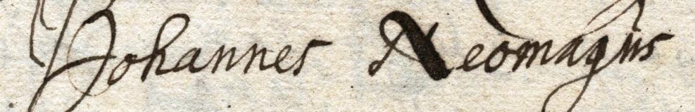 Handtekening van Johannes Neomagus