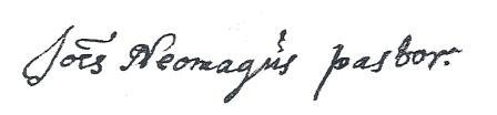 Handtekening van Johs Neomagus, pastor