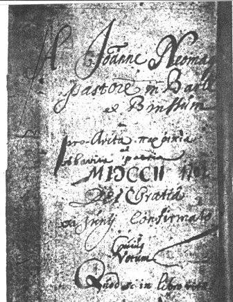 Voorblad van het doopboek van Baerl,1702