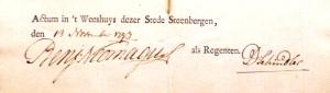 Handtekening van Benjamin Neomagus als regent van het weeshuis, 13 november 1793.