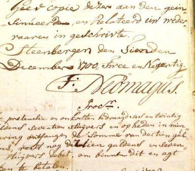 Ondertekening van een stuk door Thomas Neomagus, 1792, met een trema op de letter o.
