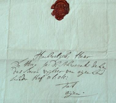 Omslag van een brief van Samuel aan de vrijheer van Oijen, met een lakzegel met het Neomagus-wapen.