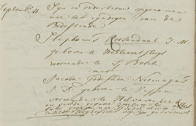 Ondertrouwakte van Stephanus en Jacoba in Hilvarenbeek met de toevoeging van dominee Keuchenius dat hij het paar in Hedel heeft getrouwd.