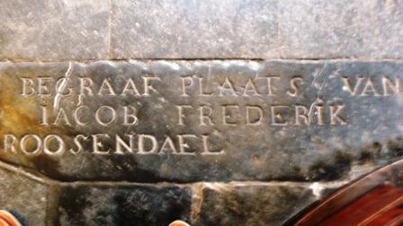 Grafsteen van Jacob Roosendael in de St. Jan van 's-Hertogenbosch. Jacob is een neef van Stephanus Roosendael, getrouwd met Jacoba Neomagus. Zij zijn ook in de St. Jan begraven, maar van hen bestaat geen grafsteen.