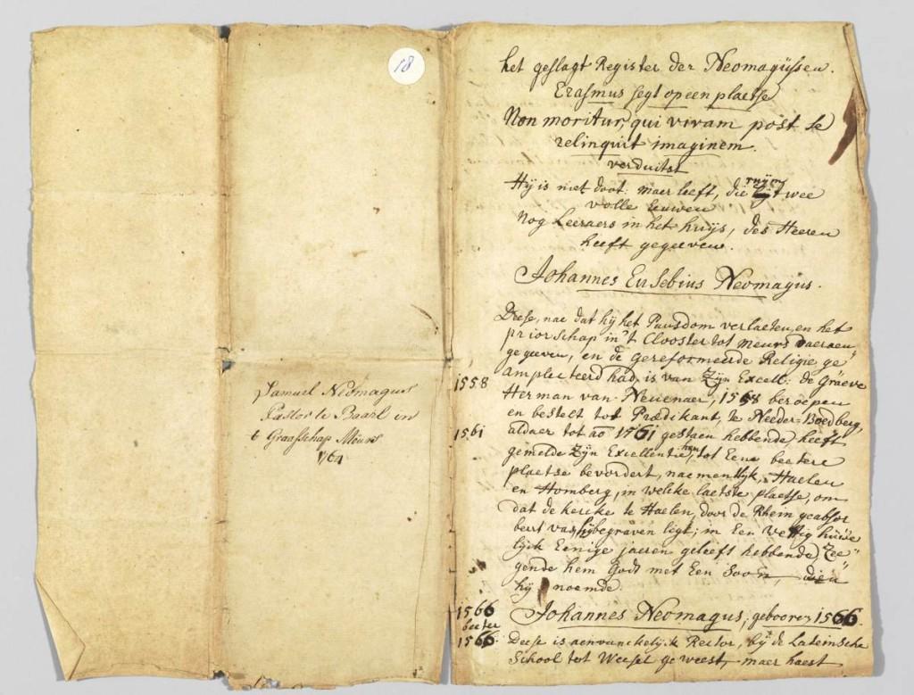 Rechts de eerste pagina van het originele geslachtsregister uit 1764.