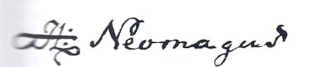 Handtekening van HL (Hendrich Ludwig) Neomagus