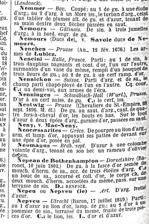 Omschrijving van het wapen in een Franstalige uitgave.