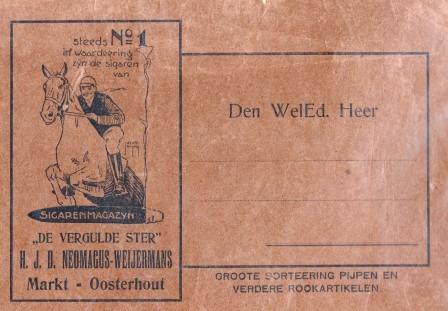 Inpakpapier van sigarenmagazijn H.J.D. Neomagus-Weijermans.