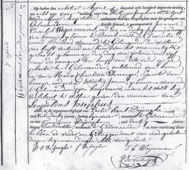Geboorteakte van Leopold Weijermans, 1829.