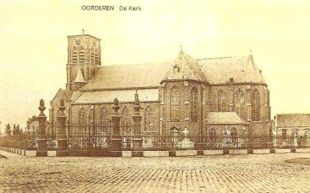 Ansichtkaart van de kerk van Oorderen, gebouwd in 1864, afgebroken in 1965.