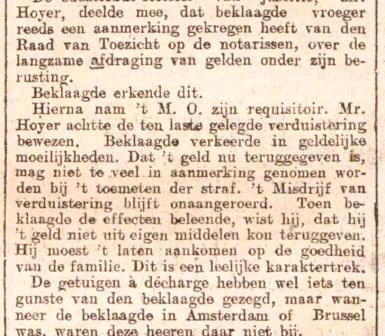 Uit het rechtbankverslag over de aanklacht tegen notaris Neomagus wegens verduistering.