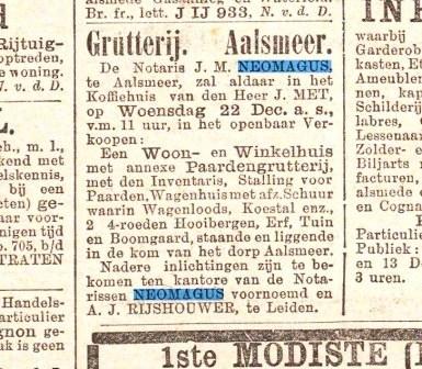 Een van de tientallen advertenties van openbare verkopingen onder leiding van notaris Neomagus.