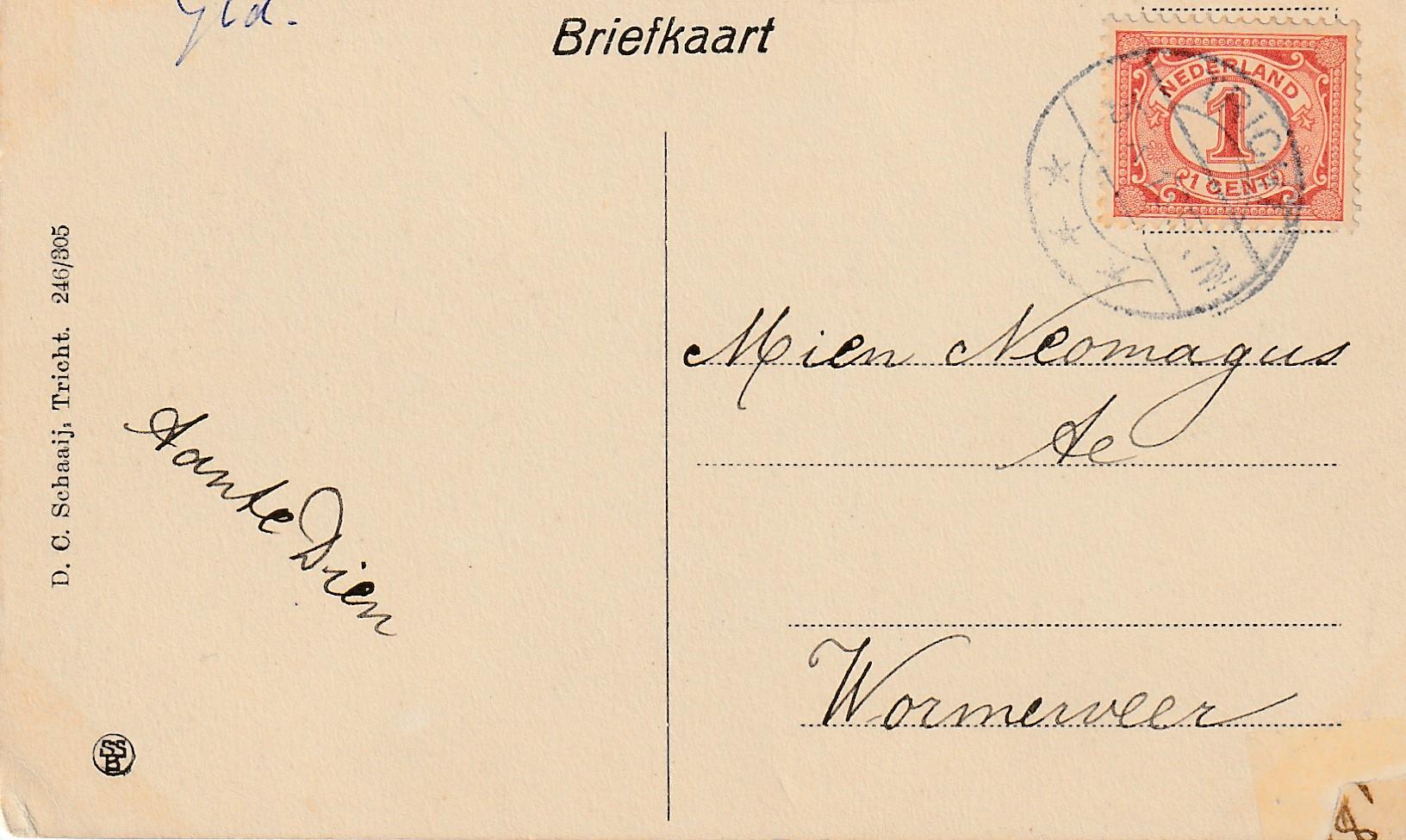 Ansichtkaart aan Mien, omstreeks 1912.