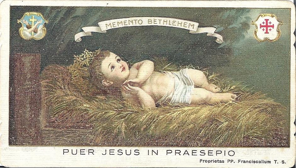 Prentje van Jezus in de kribbe, op 23 december 1930 door Julia's heerbroer Frits aan haar verstuurd vanuit Jerusalem met achterop 'Heilig Kerstfeest en Zalig Nieuwjaar'.