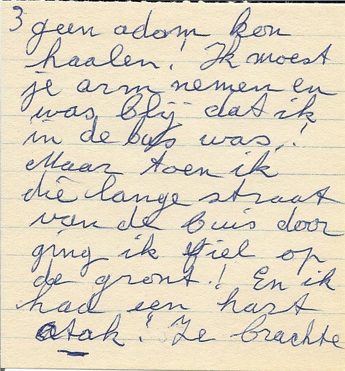 Deel van de brief van Marie uit Chester aan de auteur.