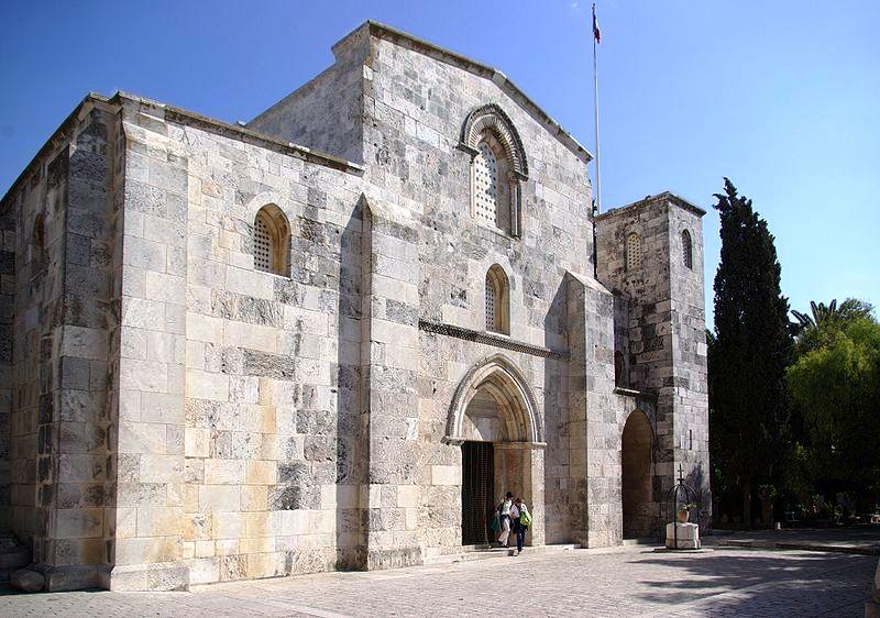 De basiliek in Jerusalem, volgens de overlevering op de plaats van het geboortehuis van Maria.