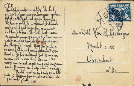 Briefkaart van Frits aan zijn vader in Oosterhout, 1938. Frits heeft een karakteristiek handschrift.