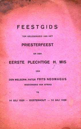 Omslag van de feestgids uit 1929.