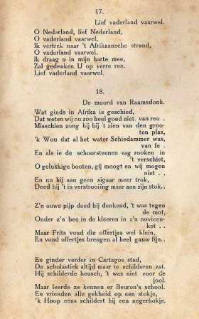 Tekst 18 uit de feestgids is gezongen op de wijs van De moord van Raamsdonk.