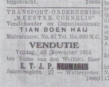 Met het oog op zijn verlof, verkoopt Bertus zijn interieur, 1924.