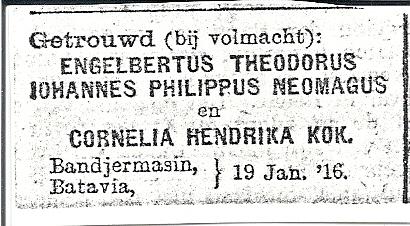 Huwelijksadvertentie van Bertus en Corrie, 1916.