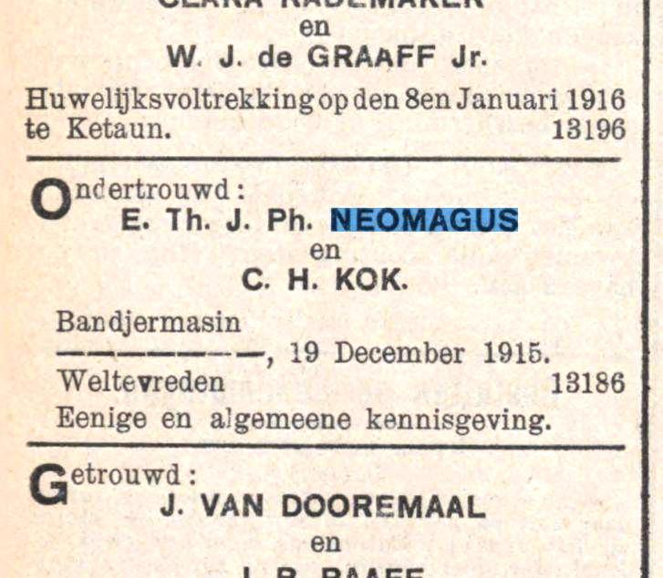 Kennisgeving van de ondertrouw van Bertus en Corrie, 1915.