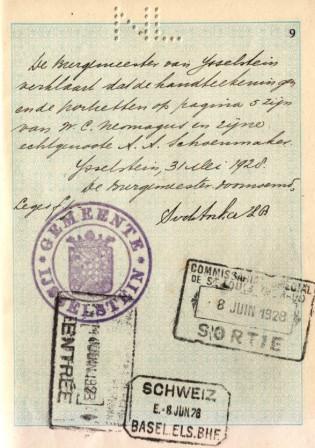 Cor en Jane vieren hun zevende huwelijksverjaardag met een reis naar Zwitserland. De douane van Basel zet op 8 juni 1928 een stempel in hun paspoort.