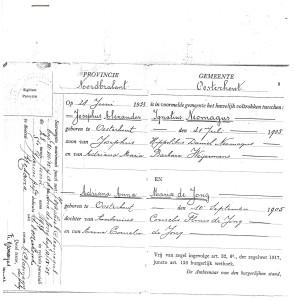 De huwelijksakte van Ignaat Neomagus en Jeanne de Jong met in de kantlijn de aantekening van het kerkelijk huwelijk, dat op dezelfde dag, 28 juni 1933, ten overstaan van zijn heerbroer Frits is gesloten in de St. Janskerk.