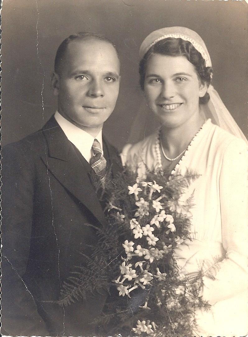 Trouwfoto van Victor en Berry, 15 september 1938.