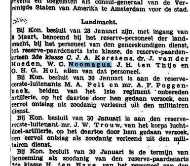 Bericht van de bevordering van Cor Neomagus tot reserve-paardenarts 1ste klasse, 1928.