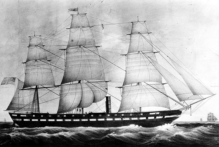 Een fregat zoals de Jacoba Helena waarmee Louis naar de Oost is gevaren.